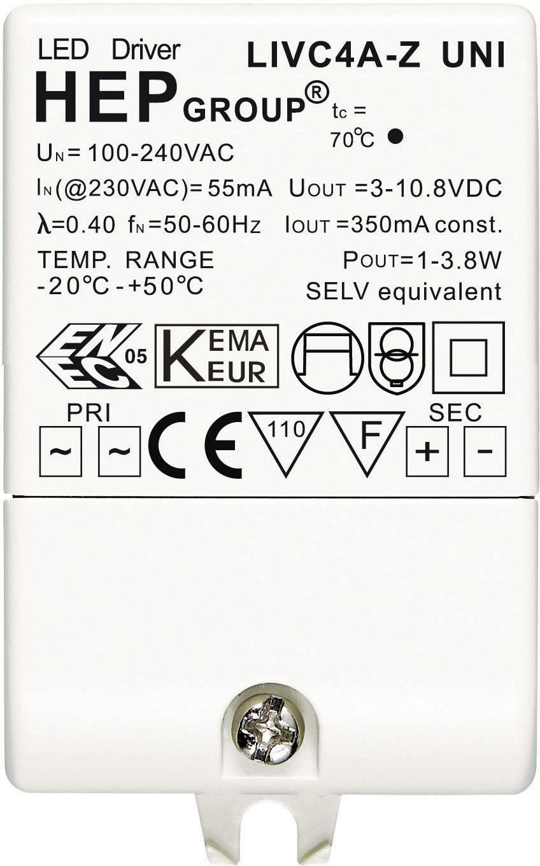 LED driver 350 MA 4W, 0.35 A, 3 - 10.8 V/DC