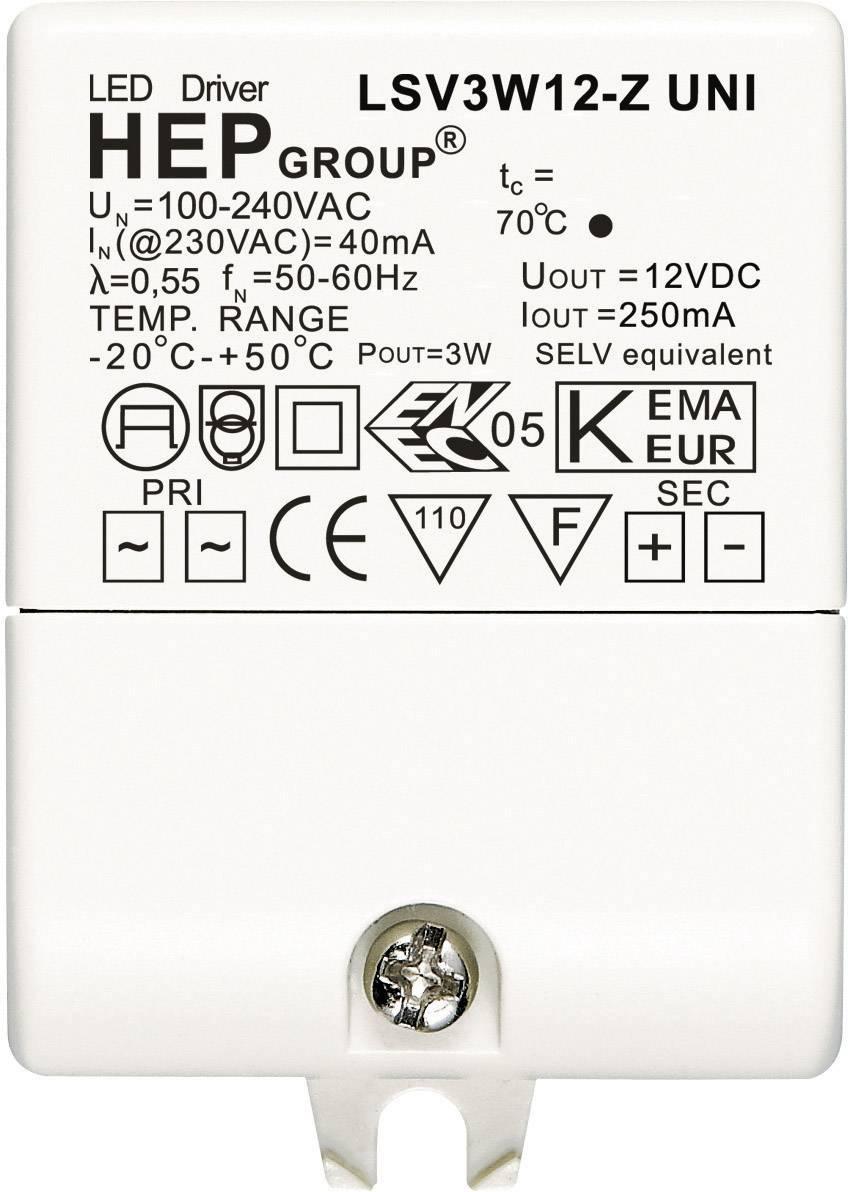 Ovládač LED osvetlenia 3 W, 12 V, LSV3W12-Z UNI