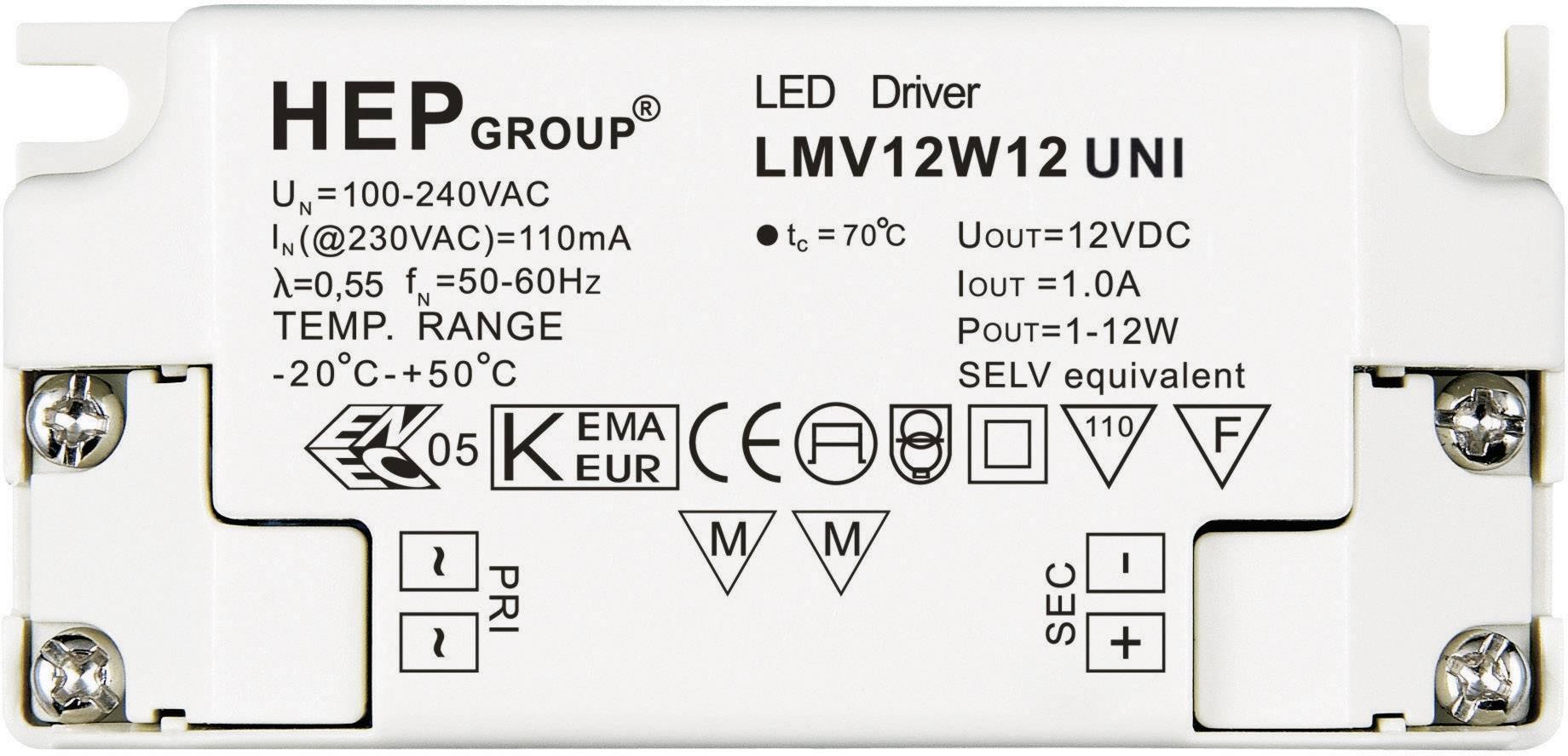Ovládač LED osvetlenia 12 W, 12 V, LMV12W12 UNI