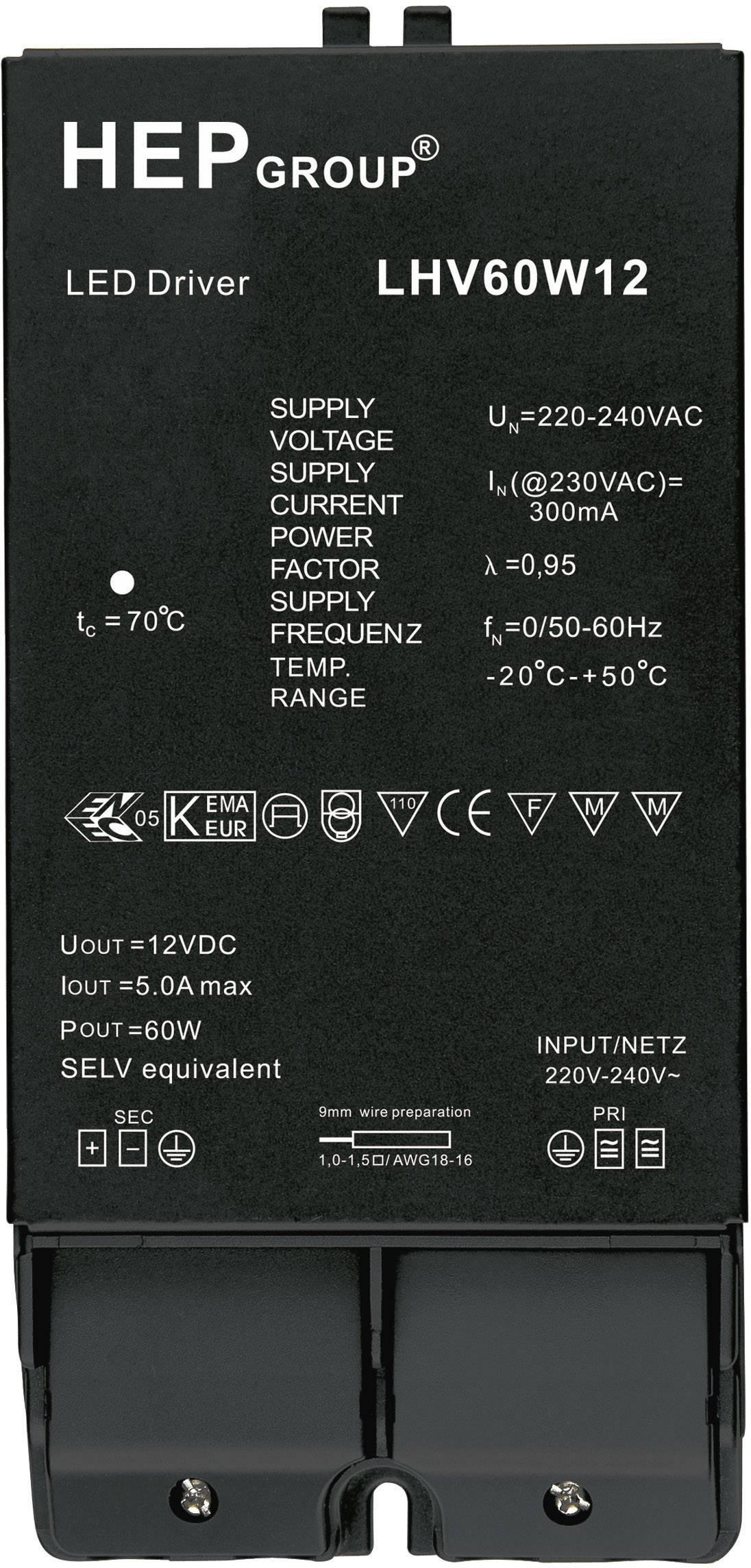 Napájací zdroj pre LED 60W 12V, 0 - 5 A, 12 V/DC