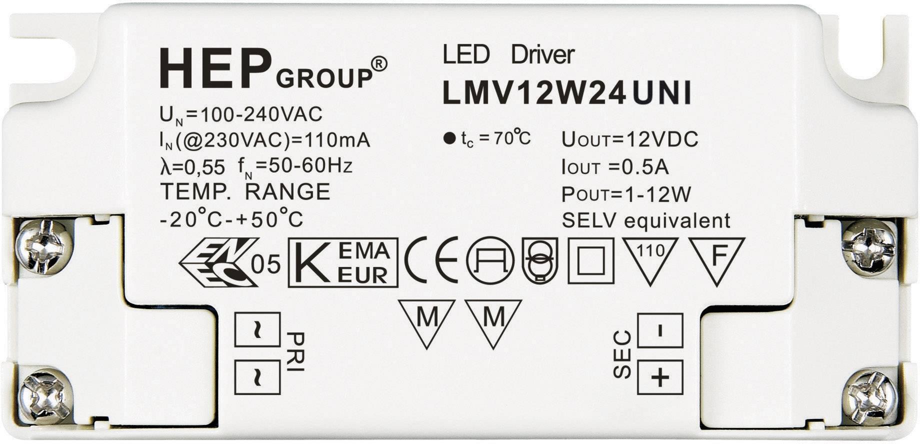 Ovládač LED osvetlenia 12 W, 24 V, LMV12W24 UNI