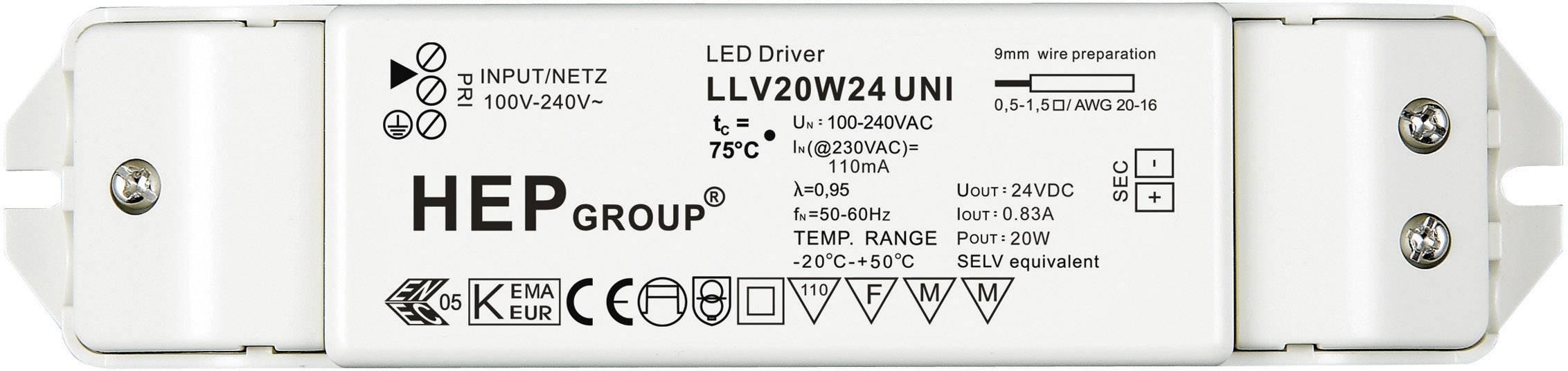 Napájací zdroj pre LED 20W 24V, 0 - 0.83 A, 24 V/DC