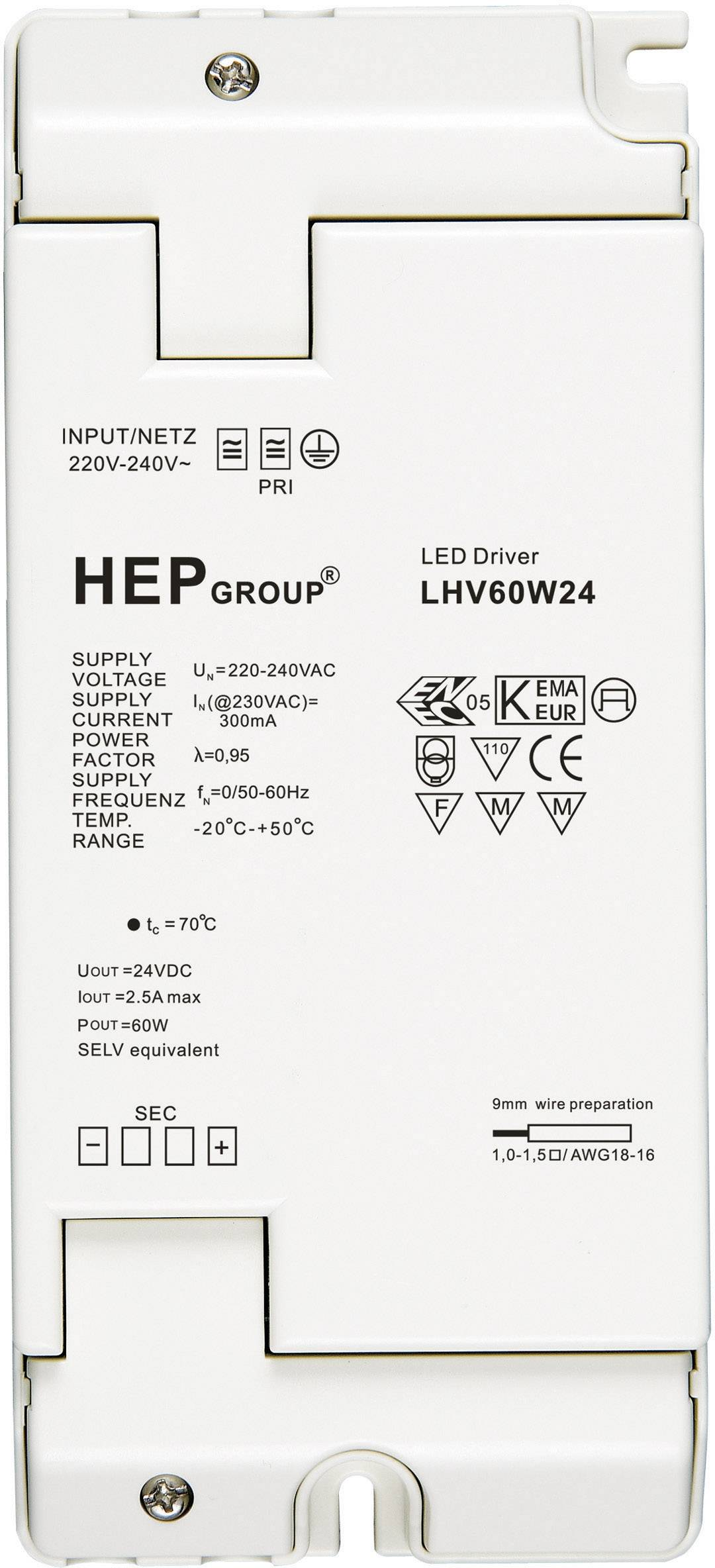 Napájací zdroj pre LED 60W 24V, 0 - 2.5 A, 24 V/DC