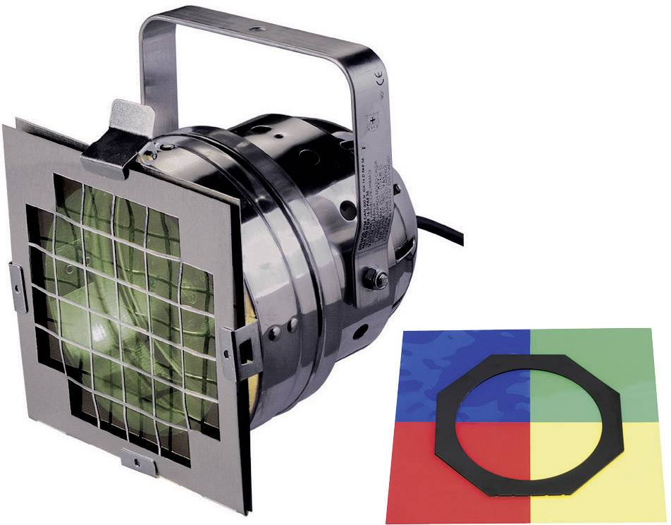 Reflektor PAR 56 Short, čierny, vrátane 300 W svetla a 4 ks farebných filtrov