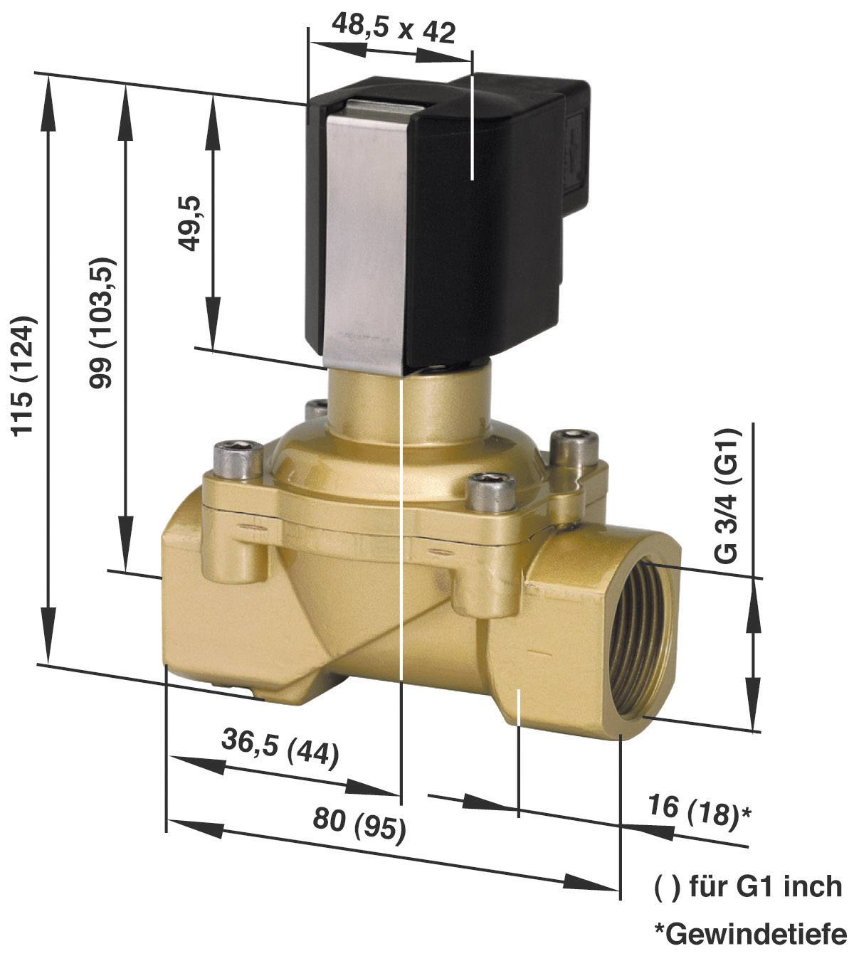 2/2-cestný mechanicky odolný ventil pneumatiky Busch Jost 8254400.9154.23049, G 1, 230 V/AC