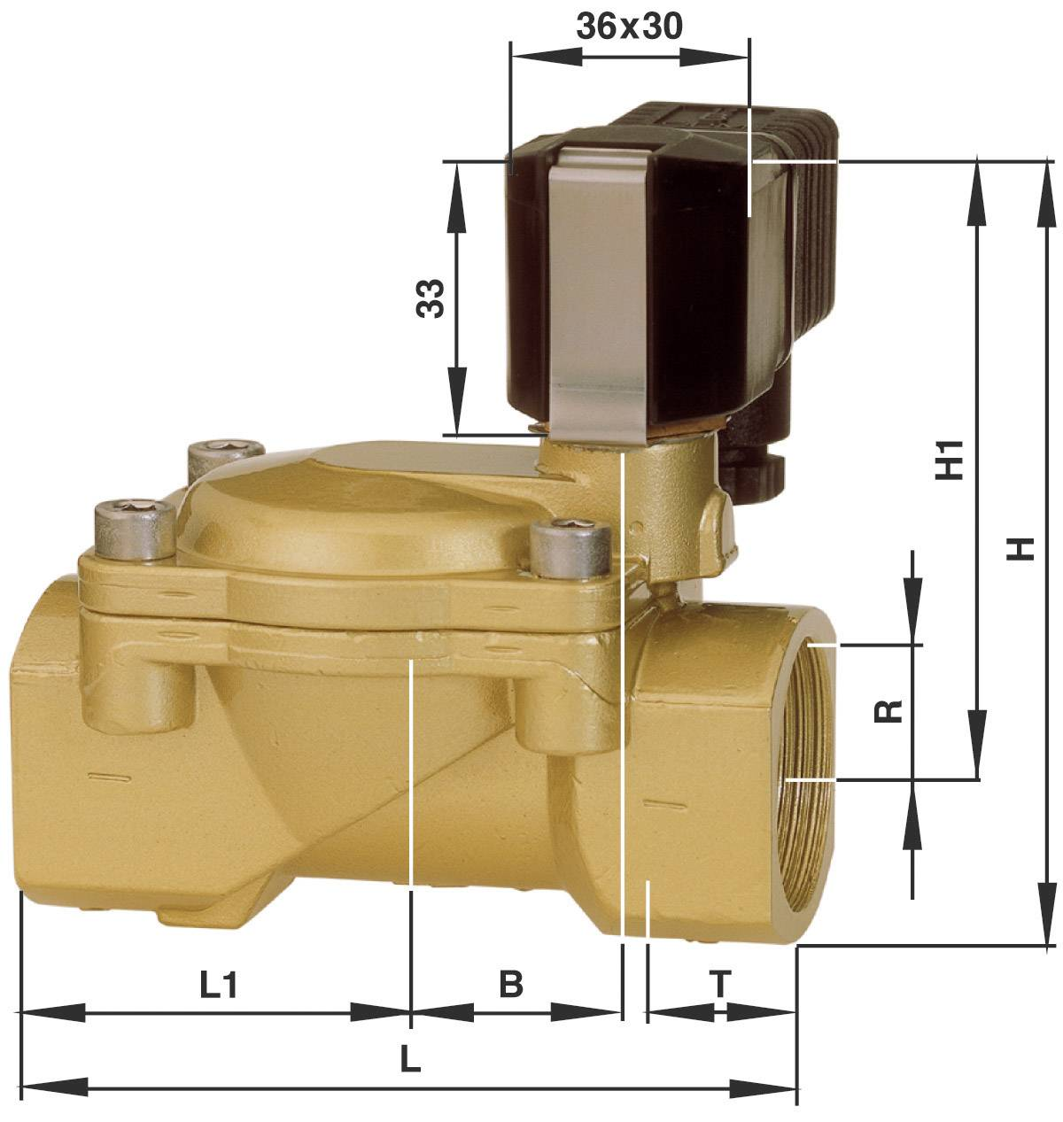 2/2-cestný elektromagnetický ventil Busch Jost 8240200.9101.02400, G 1/2, 24 V/DC