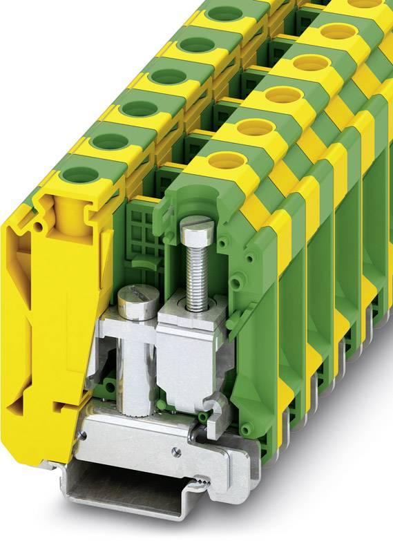 Trojitá svorka ochranného vodiče Phoenix Contact USLKG 35 N 3074143, 50 ks, zelenožlutá