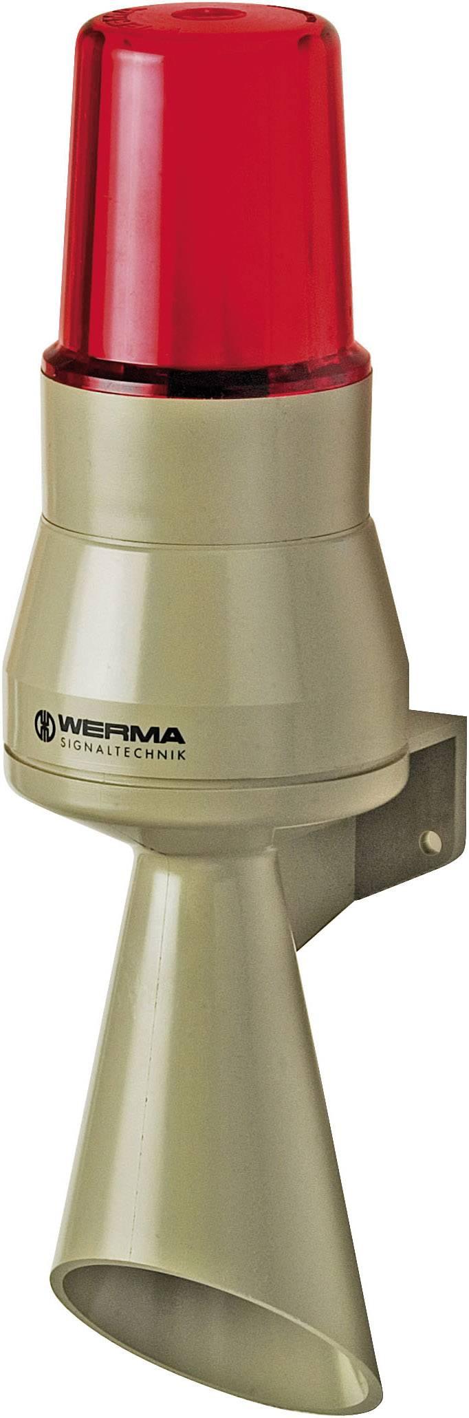 Siréna s výstražným světlem Werma 580.152.55, 24 V/DC, IP65, červená