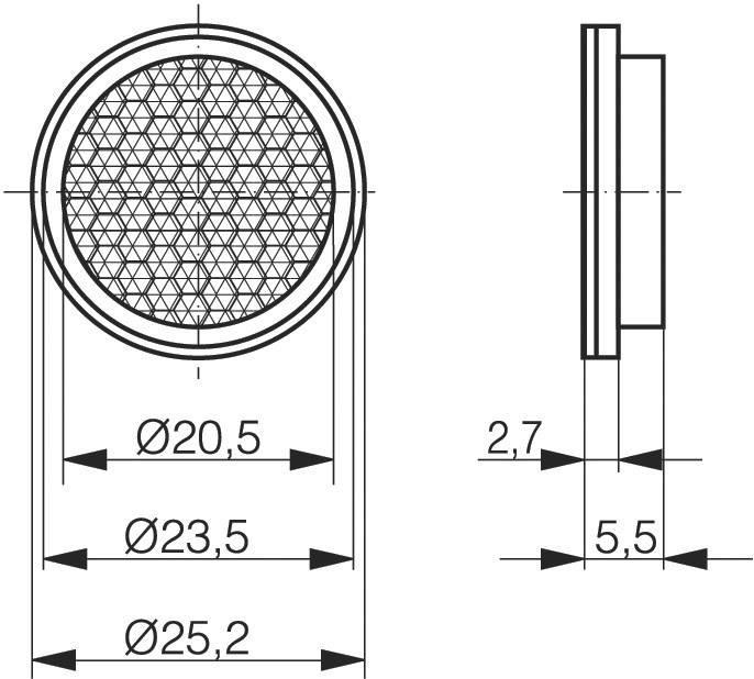 Reflexná odrazka pre svetelnú závoru CONTRINEX LXR-0000-025, 622 000 003, ⌀ 25 mm