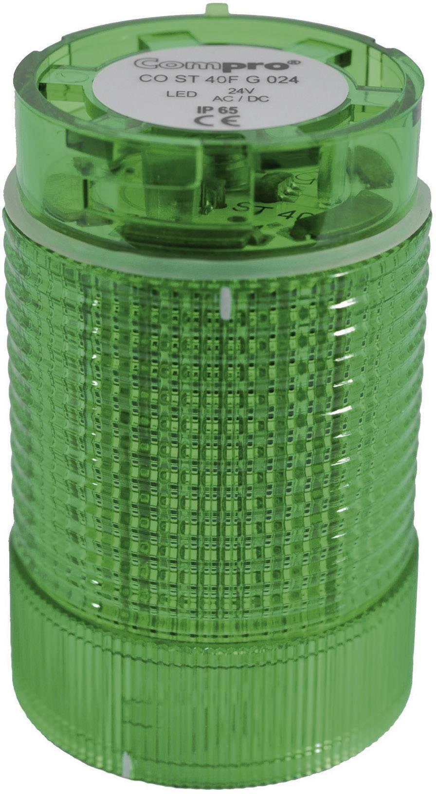 Součást signalizačního sloupku LED ComPro CO ST 40, zelená, trvalé světlo, zábleskové světlo, výstražný maják, 24 V/DC, 24 V/AC, 75 dB