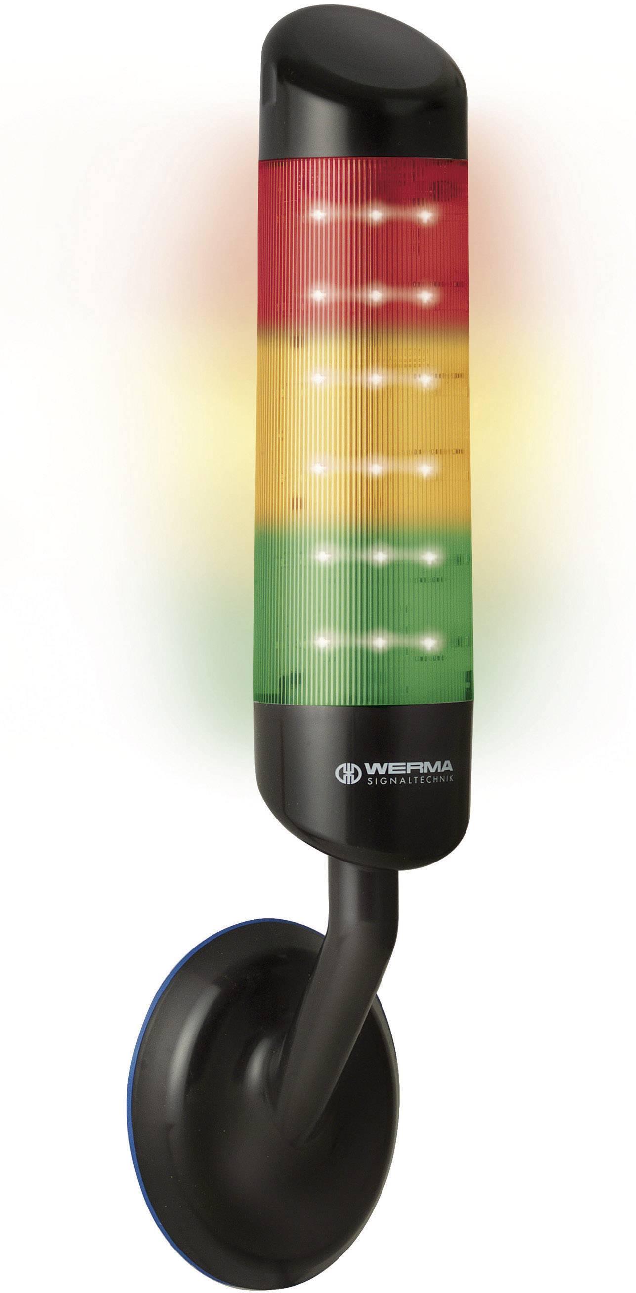 LED signalizační sloupek akustický Werma 695.300.55, IP69K, červená, žlutá, zelená,