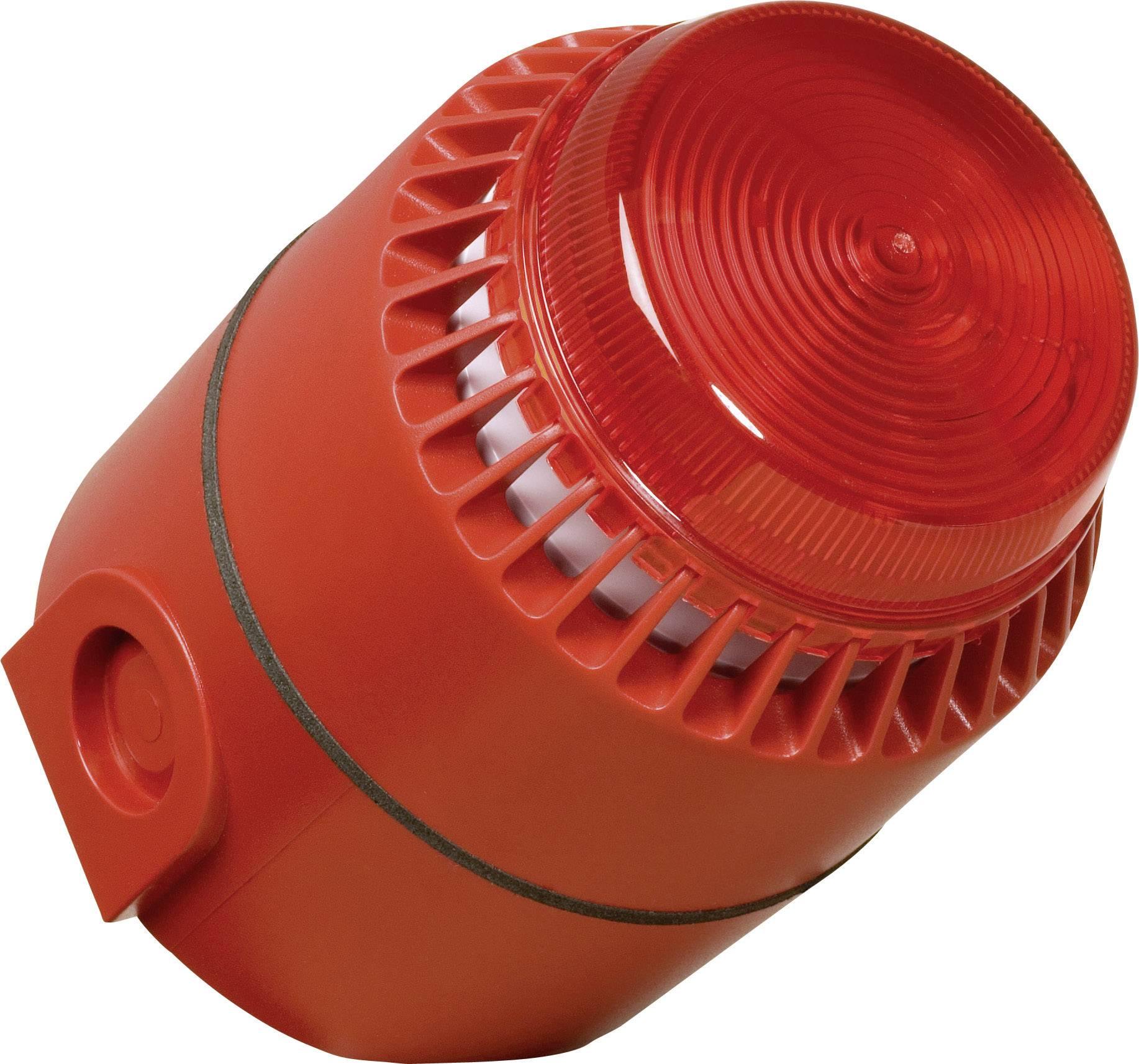 Výstražná siréna se stroboskopem ComPro, 24 V, 110 dBA, IP65, červená