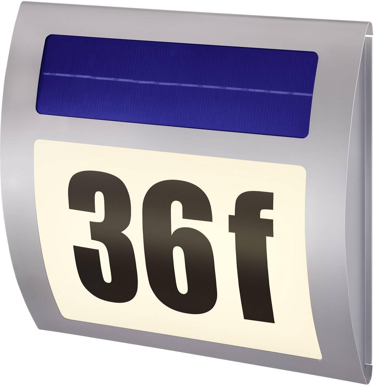 Solárne osvetlenie čísla domu teplá biela Renkforce HN 058 HN 058 nerezová oceľ