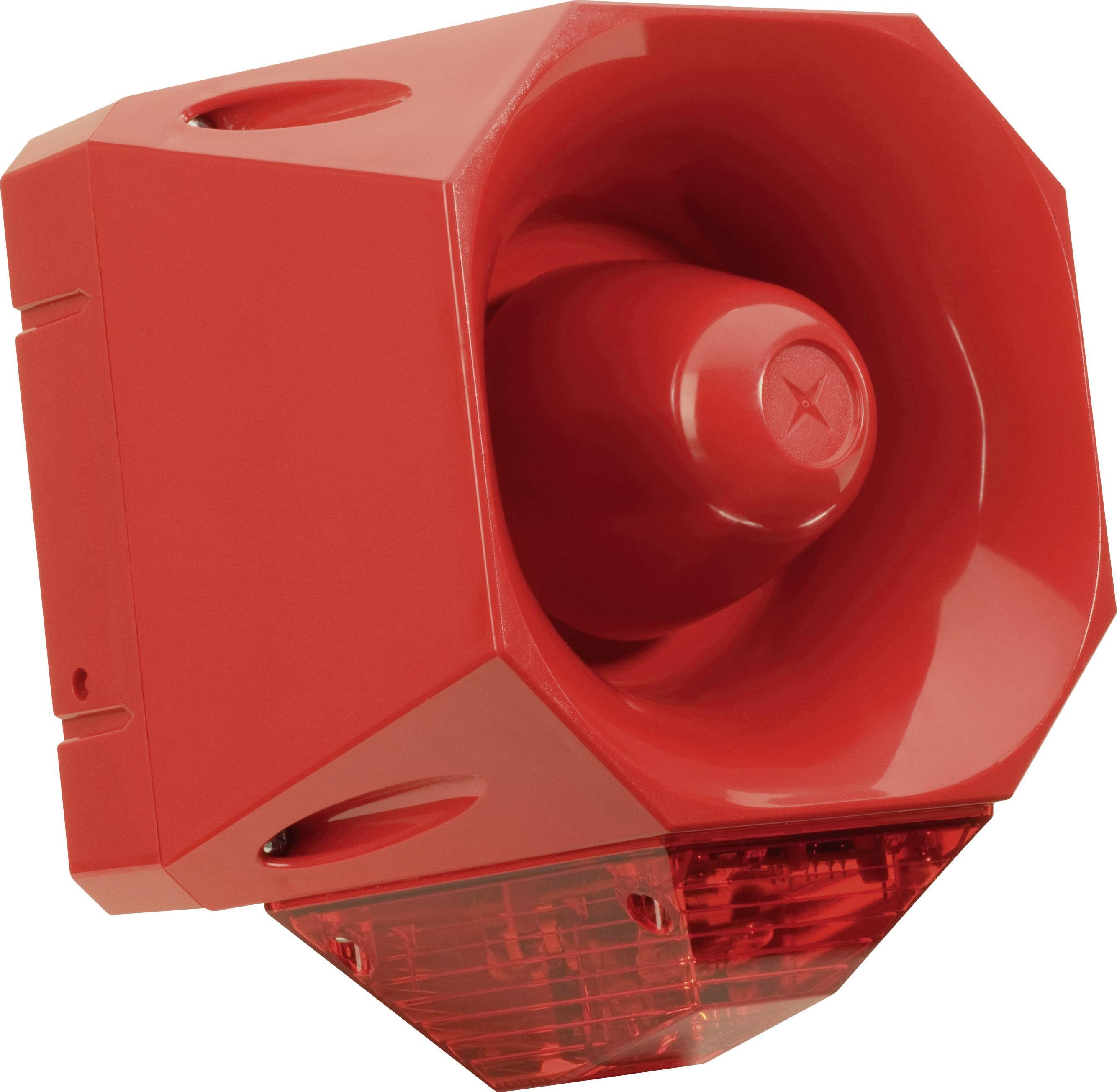 Siréna s blikajícím světlem ComPro Asserta AV (AS/SB/024/R/120/RL), IP66, červená