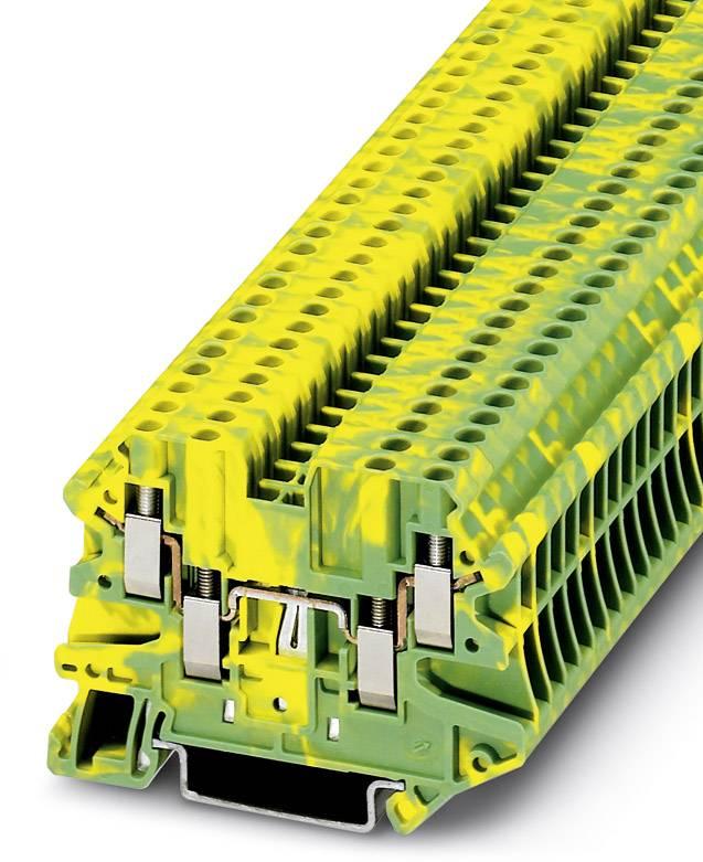 Řadová svorka průchodky Phoenix Contact UT 2,5-QUATTRO-PE 3044568, 50 ks, zelenožlutá