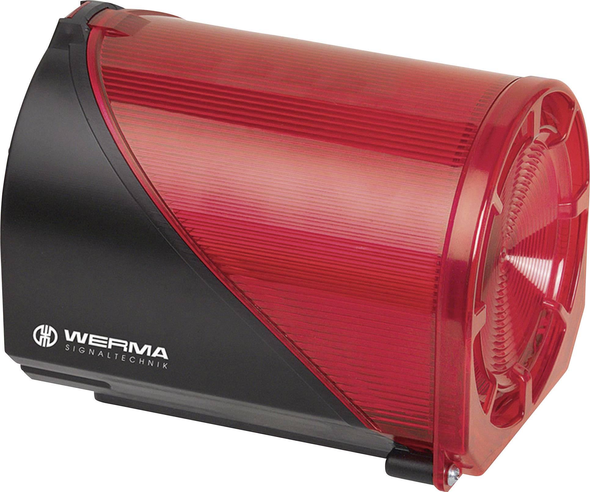 LED EVS světlo se sirénou Werma 444.110.75, IP65, červená