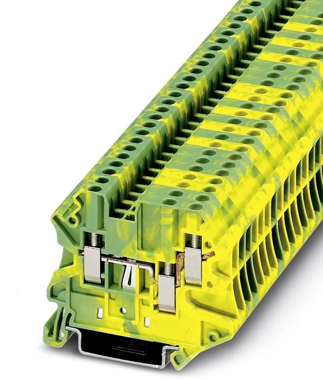 Řadová svorka průchodky Phoenix Contact UT 2,5-TWIN-PE 3044539, 50 ks, zelenožlutá