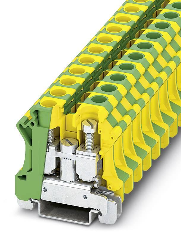 Instalační svorka ochranného vodiče Phoenix Contact UTI 16-PE 3073830, 50 ks, zelenožlutá