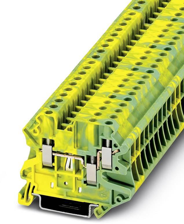 Řadová svorka průchodky Phoenix Contact UT 4-TWIN-PE 3044380, 50 ks, zelenožlutá