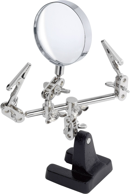 Trojramenný držiak s lupou Toolcraft ZD-10D