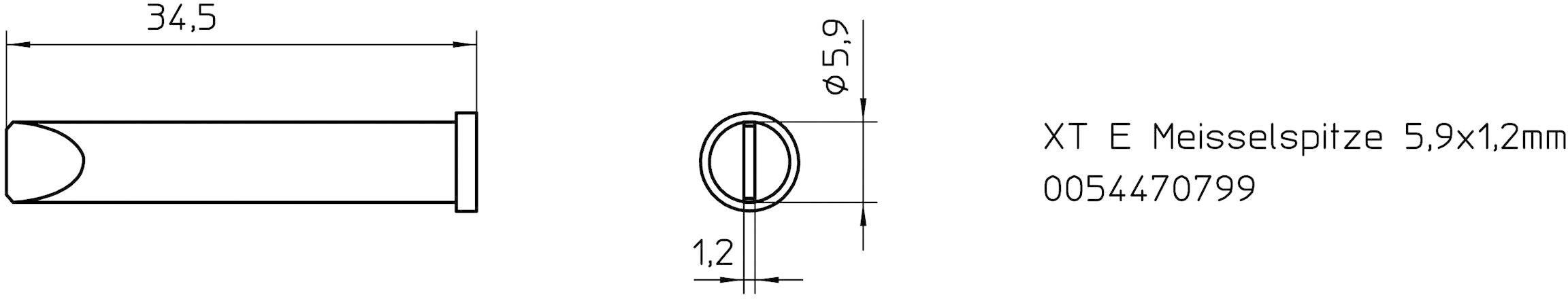 Spájkovací hrot dlátová forma Weller Professional XT-E, velikost hrotu 5.9 mm, 1 ks