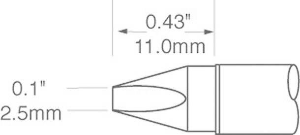 Spájkovací hrot dlátová forma OKI by Metcal SFV-CH25, velikost hrotu 2.5 mm, délka hrotu 11 mm, 1 ks