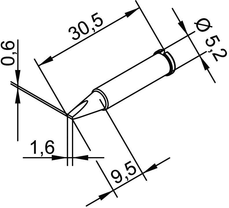 Spájkovací hrot dlátová forma, rovná Ersa 102 CD LF 16, velikost hrotu 1.6 mm, 1 ks