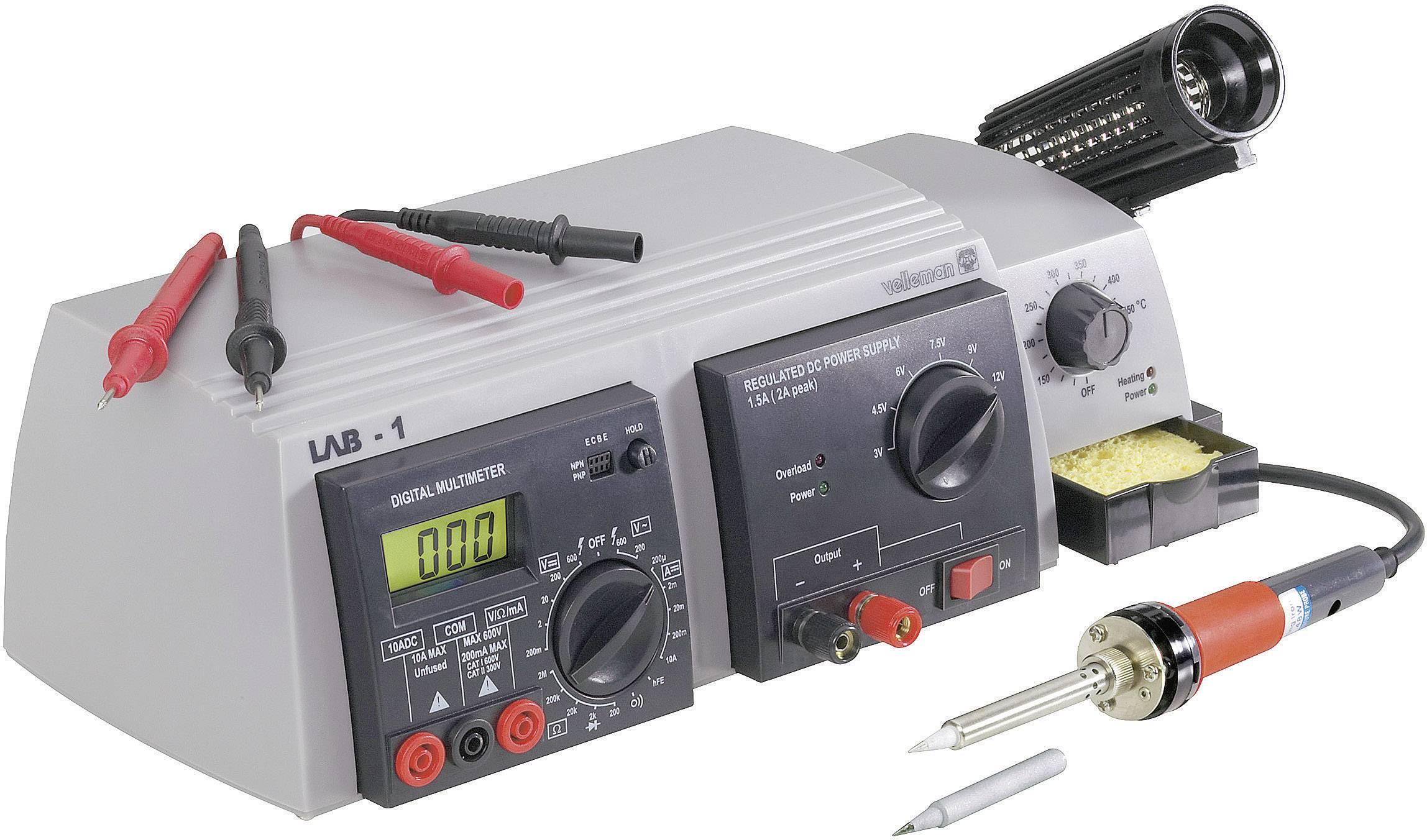 Multifunkční pájecí stanice Velleman LAB-1, digitální, 48 W, +150 až +420 °C