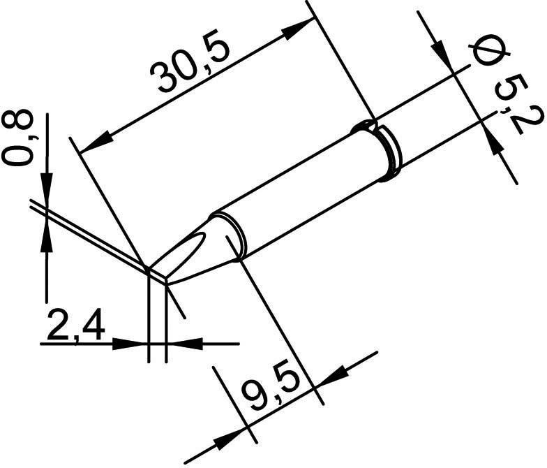Spájkovací hrot dlátová forma, rovná Ersa 102 CD LF 24, velikost hrotu 2.4 mm, 1 ks