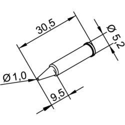 Spájkovací hrot ceruzková forma, ERSADUR Ersa 102 PD LF 10, velikost hrotu 1 mm, 1 ks