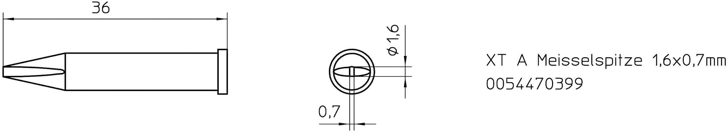 """""""pájecí hrot dlátový Weller Professional XT-A, Velikost hrotů 1.6 mm 1 ks"""""""