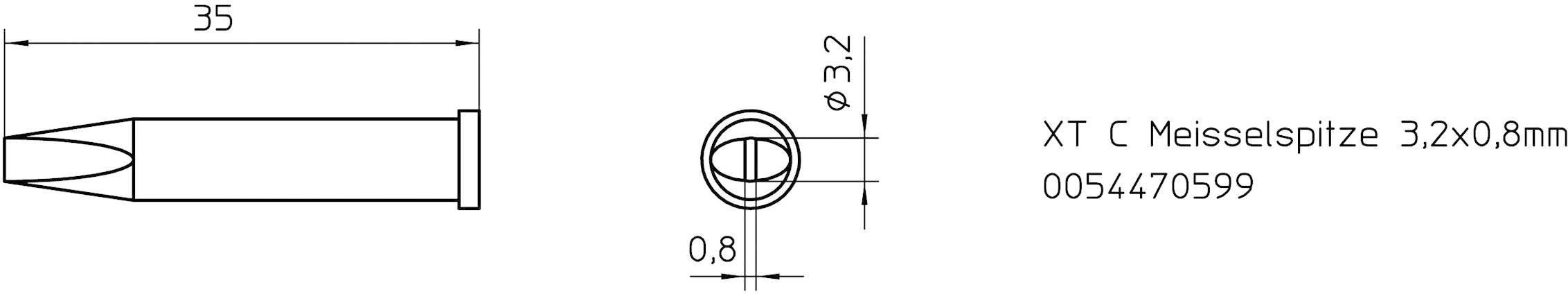 """""""pájecí hrot dlátový Weller Professional XT-C, Velikost hrotů 3.2 mm 1 ks"""""""