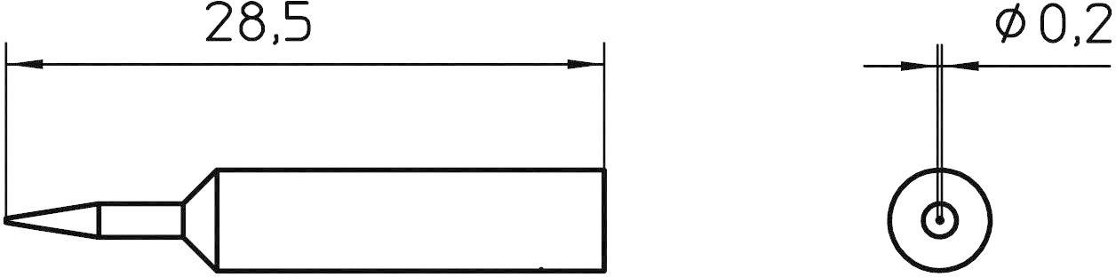 Spájkovací hrot okrúhla forma Weller Professional XNT 1S, velikost hrotu 0.2 mm, 1 ks