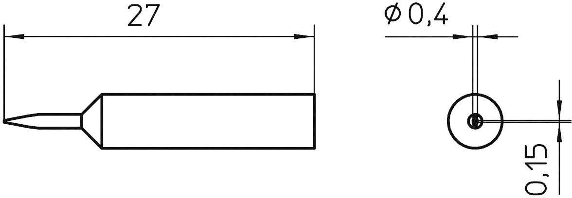 Spájkovací hrot dlátová forma Weller Professional XNT 1SC, velikost hrotu 0.4 mm, délka hrotu 27 mm, 1 ks