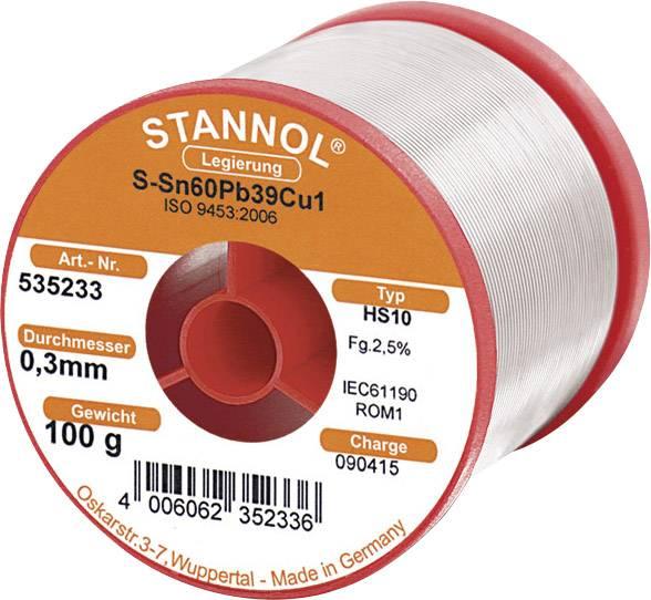 Cínová spájka, Sn60Pb39Cu1, Ø 0,3 mm, 100 g, Stannol HS10