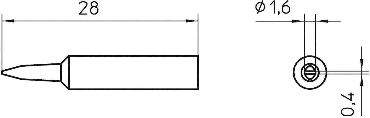 Spájkovací hrot dlátová forma Weller Professional XNT A, velikost hrotu 1.6 mm, 1 ks