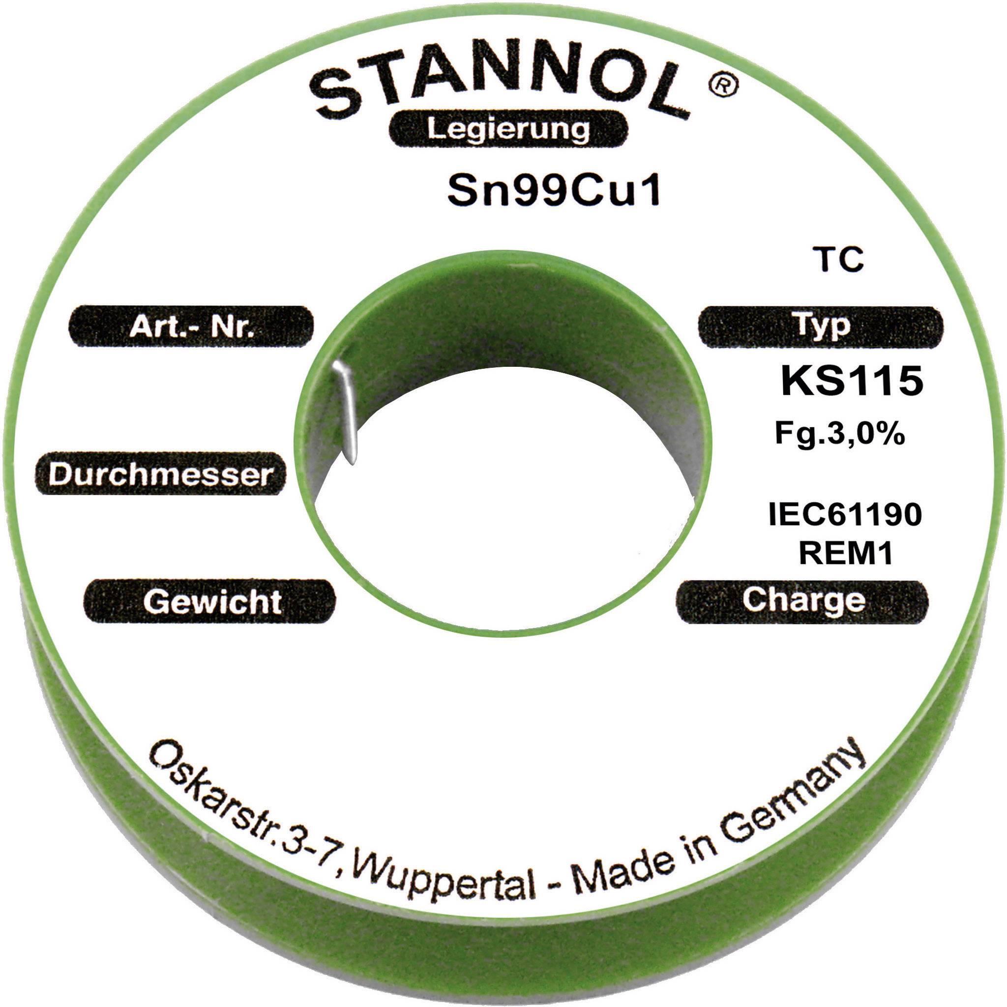 Cínová spájka PBF Sn99Cu1, Ø 1 mm, 250 g, Stannol KS115