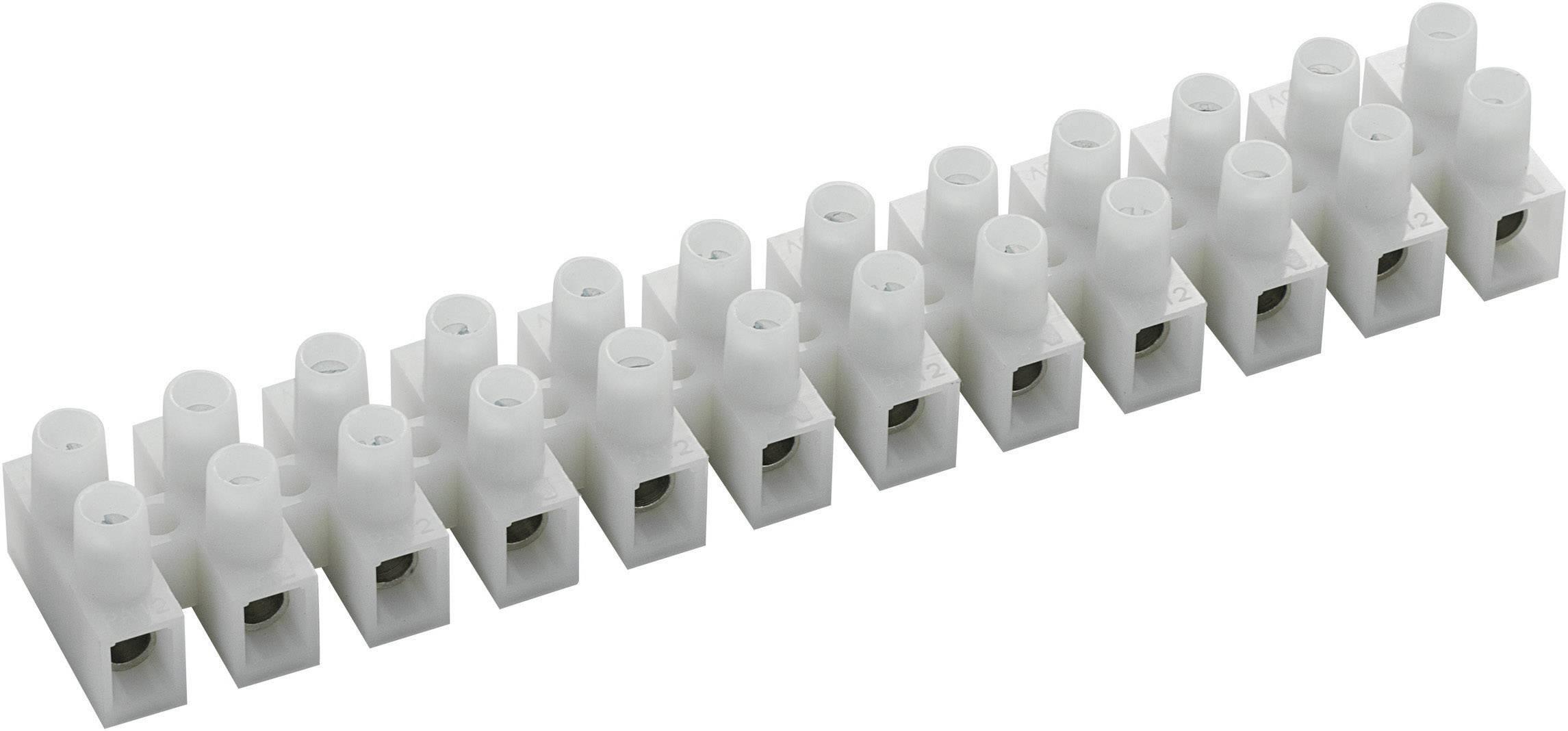 Svietidlové svorky na kábel s rozmerom 2.5-6 mm², pólů 12, 10 ks, biela
