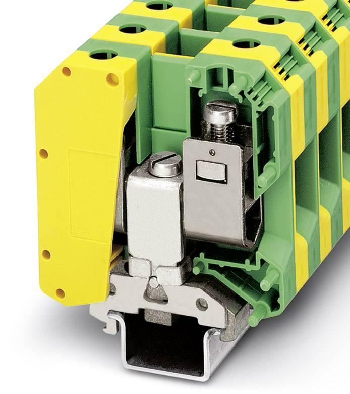 Trojitá svorka ochranného vodiče Phoenix Contact USLKG50-IB 0443078, 10 ks, zelenožlutá