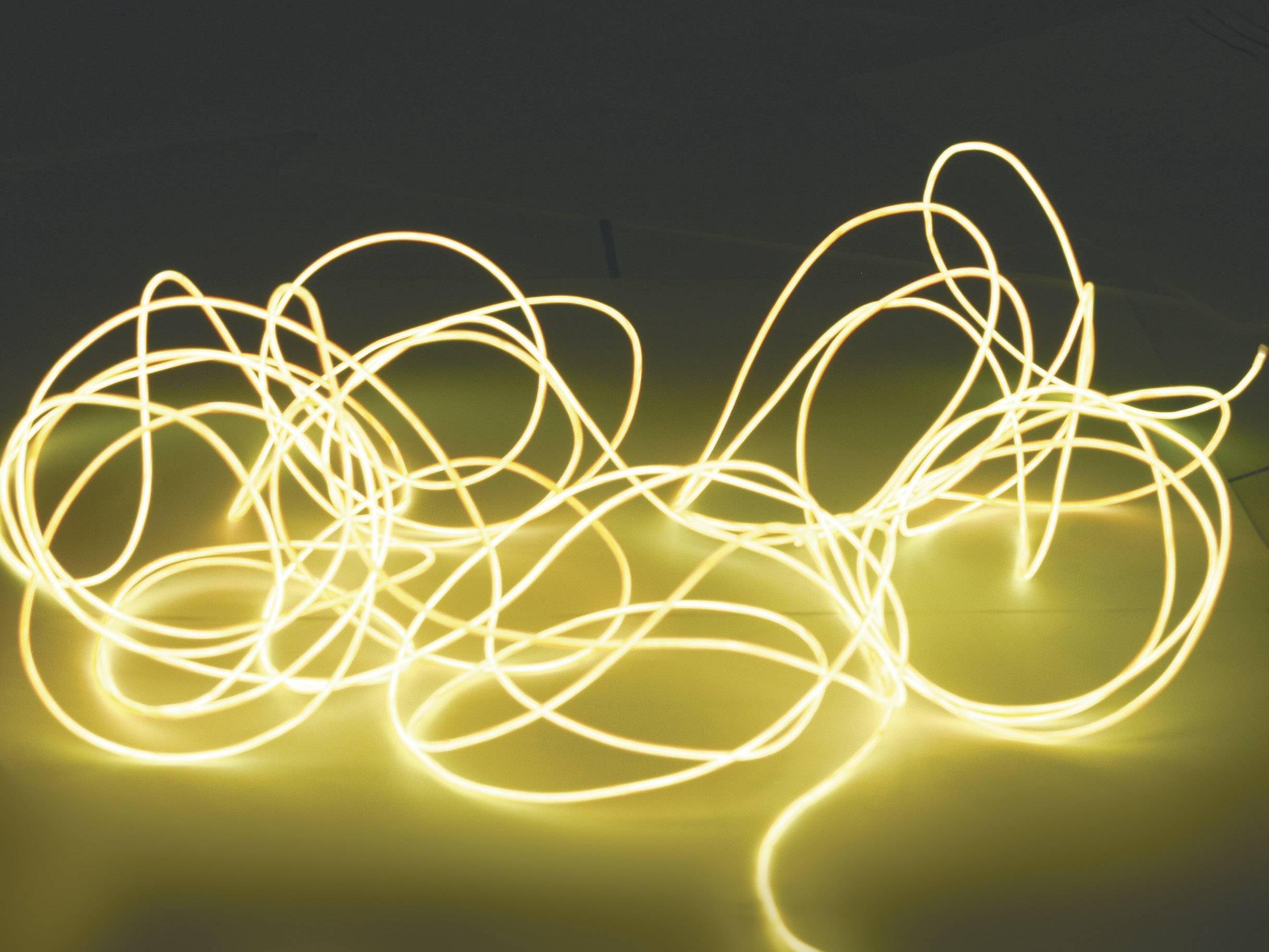 Elektroluminiscenčný kábel, Ø 2 mm, 2 m, žltý