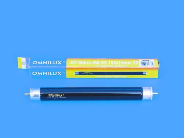 UV trubice s černým světlem Omnilux, 4 W, G5 T5, 5000 h, 150 x 16 mm