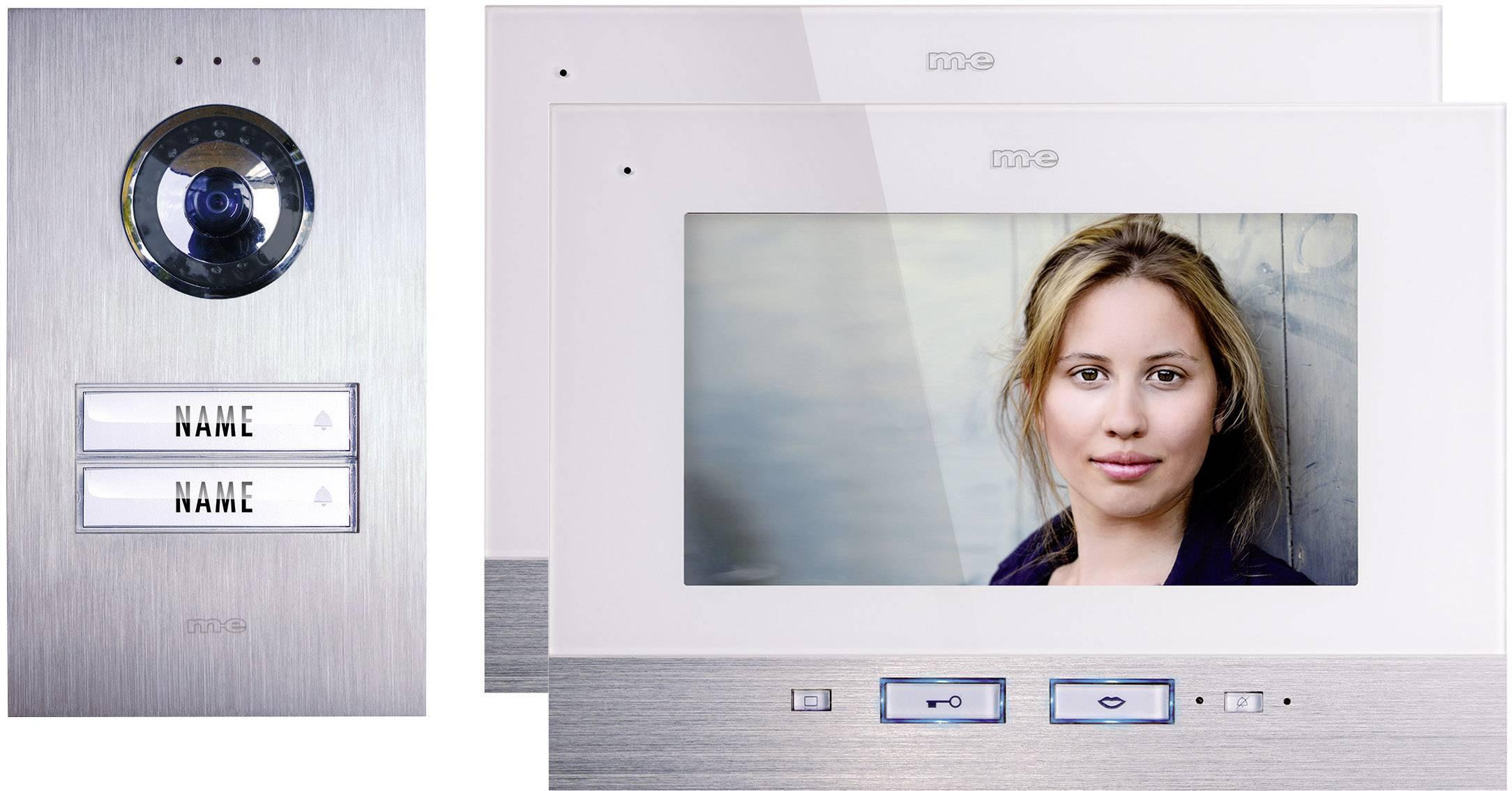 Káblový dverový telefón m-e modern-electronics, pre 2 domácnosti, strieborná, biela, kompletný set