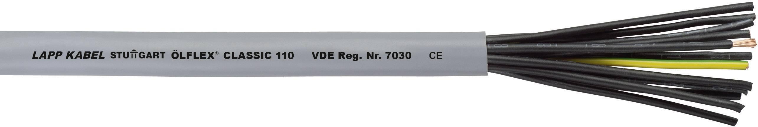 Riadiaci kábel LappKabel ÖLFLEX® CLASSIC 110 1119125, 25 G 0.75 mm², vonkajší Ø 13.80 mm, 500 V, metrový tovar, sivá