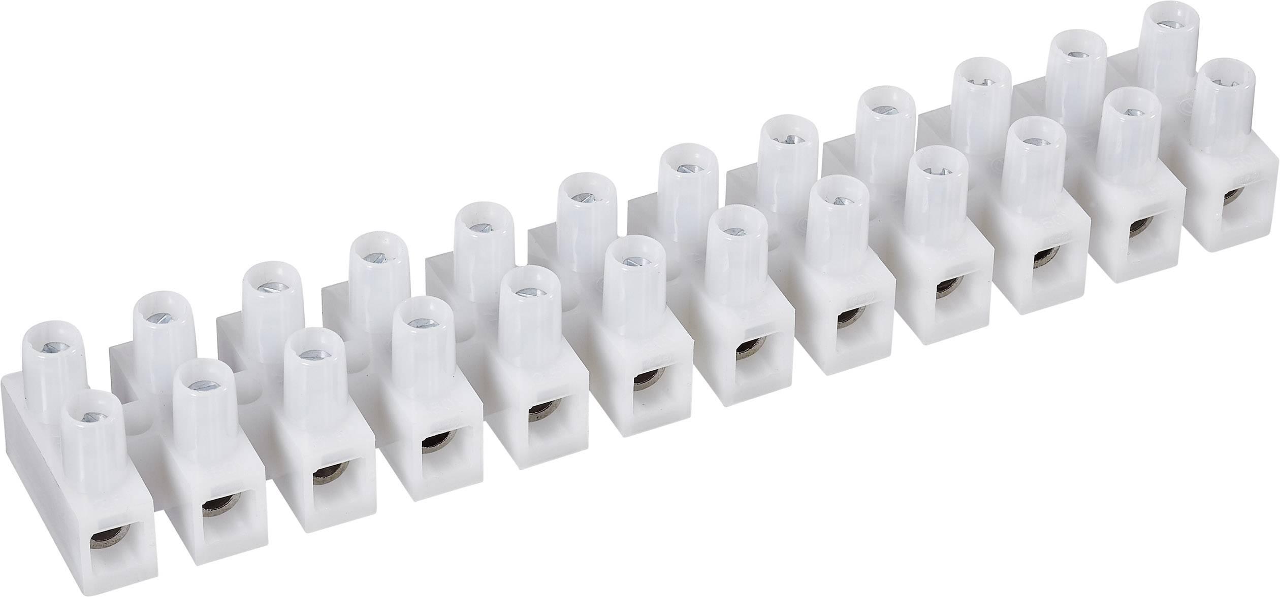 Svietidlové svorky 600300 na kábel s rozmerom 1.5-2.5 mm², tuhosť 1.5-2.5 mm², počet pinov 12, 1 ks, biela
