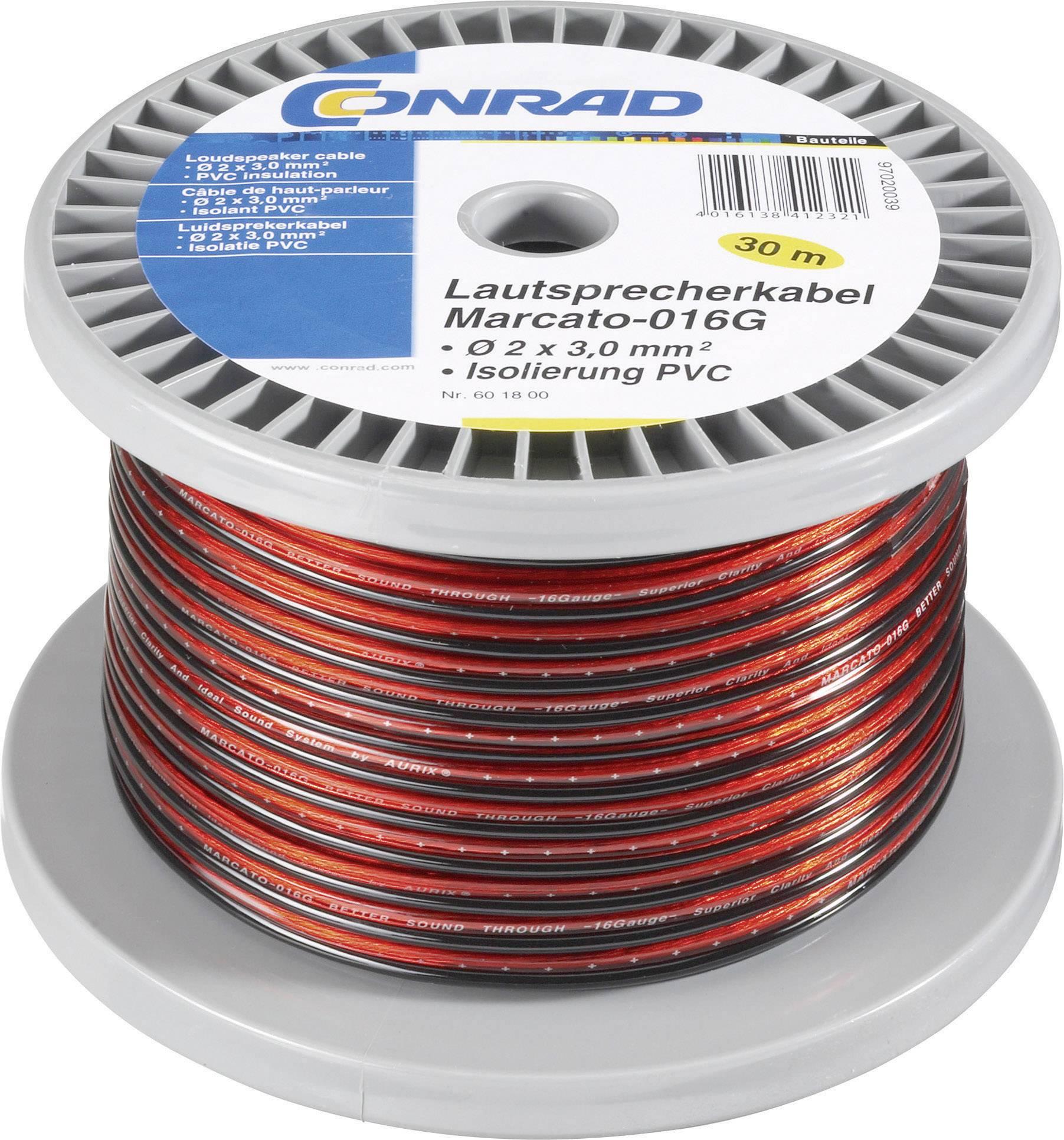 Kábel k reproduktoru Conrad Components 601800, 2 x 1.65 mm², červená, čierna, 30 m
