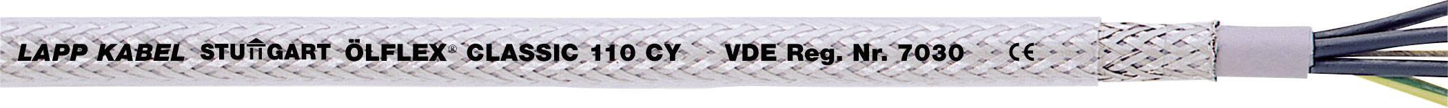 Riadiaci kábel LappKabel ÖLFLEX® CLASSIC 110 CY 1135303, 3 x 1.50 mm², vonkajší Ø 8.90 mm, 500 V, metrový tovar, priehľadná