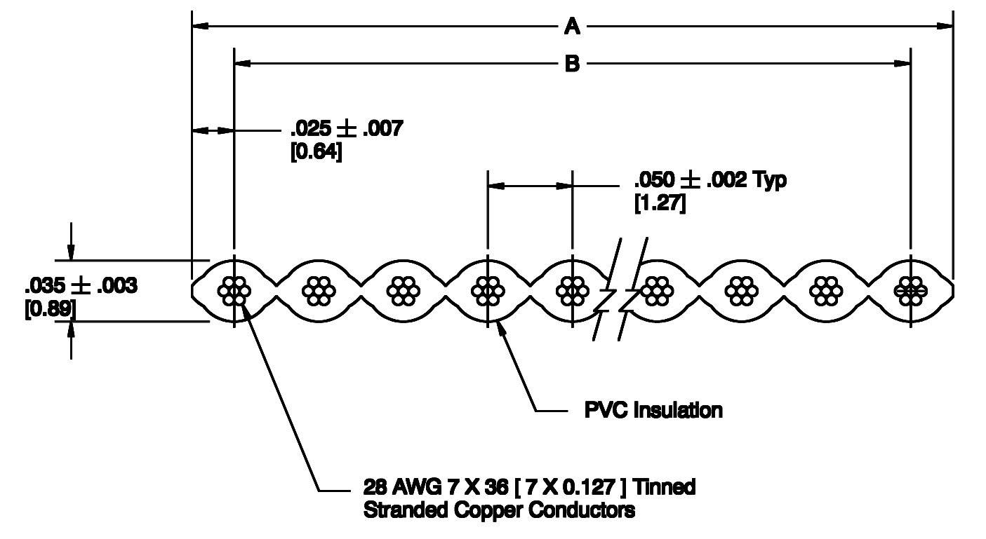 Plochý kábel 3M 7000057938, rozteč 1.27 mm, 14 x 0.08 mm², sivá, metrový tovar