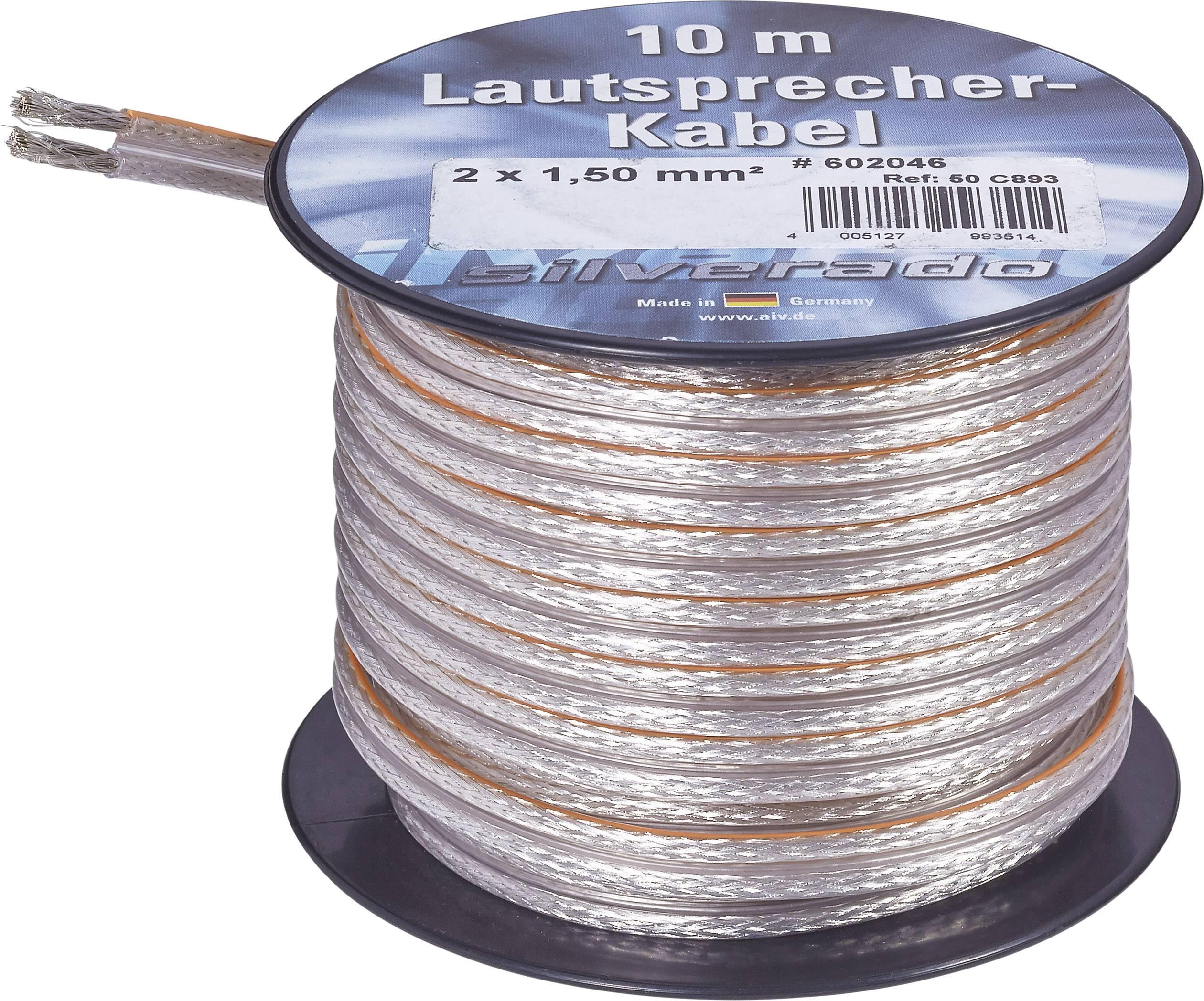 Kábel k reproduktoru AIV 23555L, 2 x 1.50 mm², strieborná, 10 m