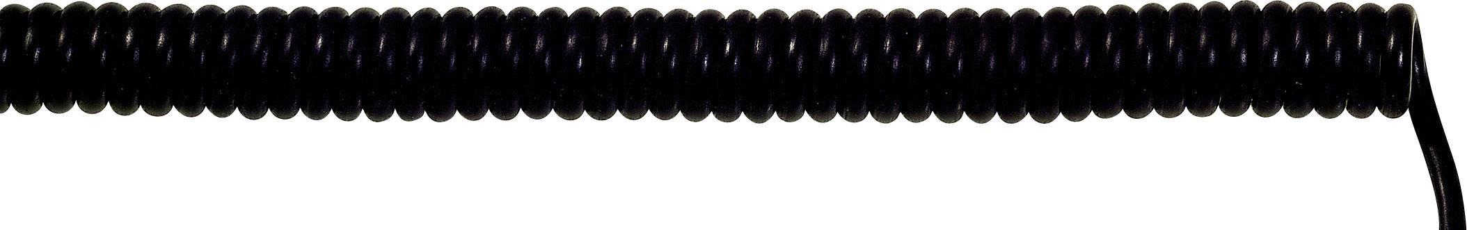 Špirálový kábel 73220206 UNITRONIC® SPIRAL 3 x 0.14 mm², 200 mm / 800 mm, čierna