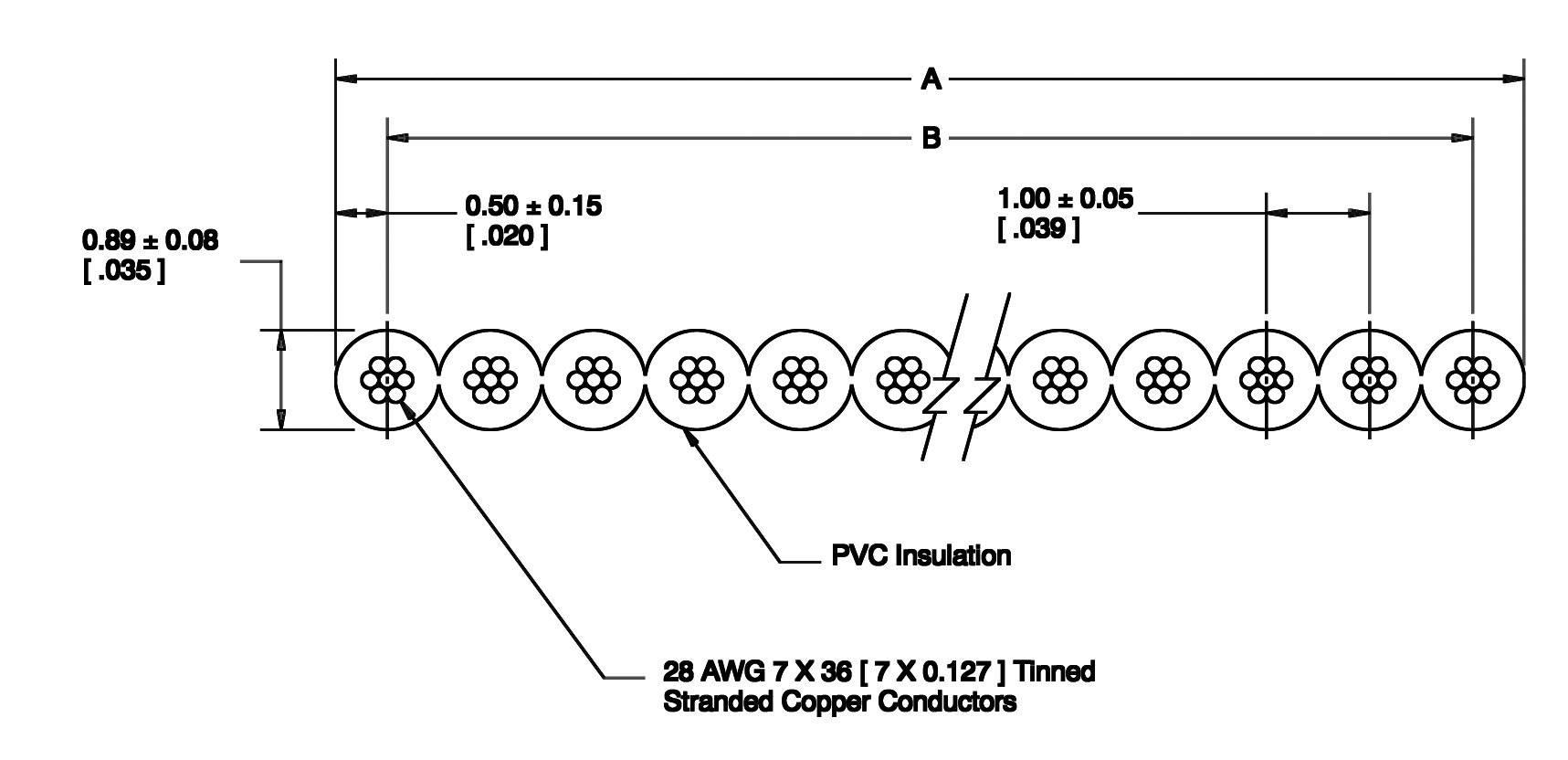 Plochý kábel 3M 7000058184, rozteč 1 mm, 44 x 0.08 mm², sivá, metrový tovar